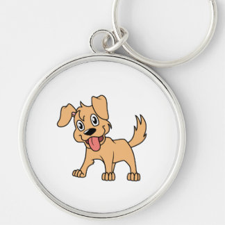 Happy Cute Brown Puppy Dog Tongue Out Key Chains