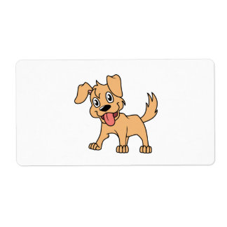 Happy Cute Brown Puppy Dog Tongue Out Label