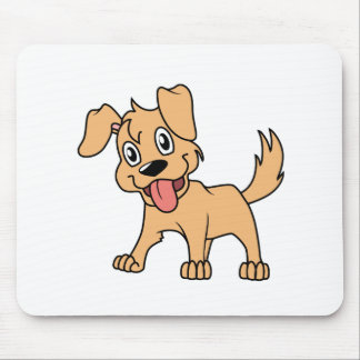 Happy Cute Brown Puppy Dog Tongue Out Mouse Pad