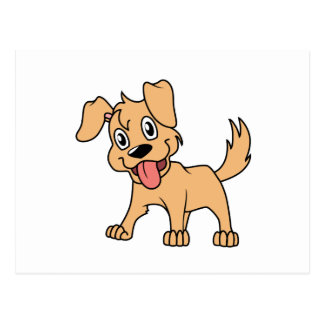 Happy Cute Brown Puppy Dog Tongue Out Postcard