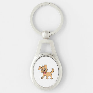 Happy Cute Brown Puppy Dog Tongue Out Silver-Colored Oval Metal Keychain