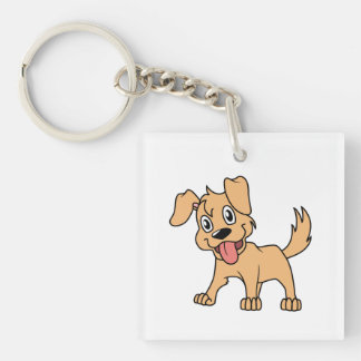 Happy Cute Brown Puppy Dog Tongue Out Single-Sided Square Acrylic Keychain