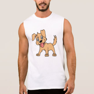 Happy Cute Brown Puppy Dog Tongue Out Sleeveless Shirt