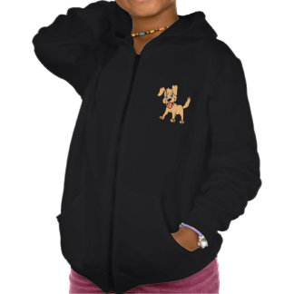 Happy Cute Brown Puppy Dog Tongue Out Hooded Sweatshirts