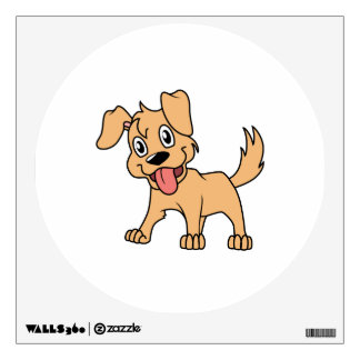 Happy Cute Brown Puppy Dog Tongue Out Room Decal