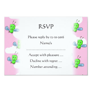 Happy Cute Bugs and Pink Sky 3.5x5 Paper Invitation Card