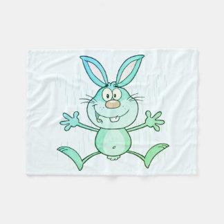 Happy Cute Bunny Rabbit Graphic Fleece Blanket