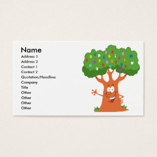 happy cute cartoon abc alphabet tree business card