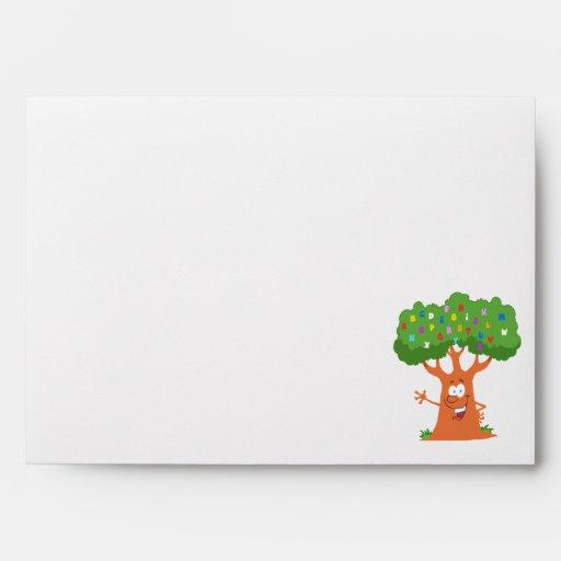 happy cute cartoon abc alphabet tree envelope