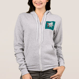 Happy Cute Cartoon Tooth With a Toothbrush Hoodie