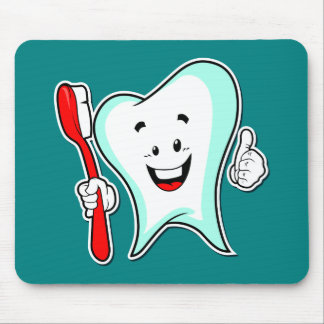 Happy Cute Cartoon Tooth With a Toothbrush Mouse Pad