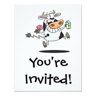 happy cute dairy cow cartoon ice cream milk card
