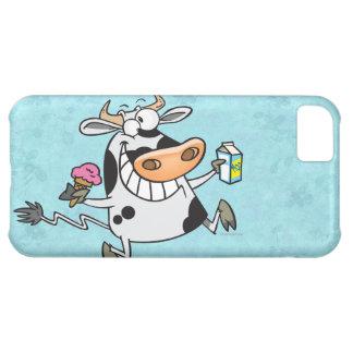 happy cute dairy cow cartoon ice cream milk cover for iPhone 5C