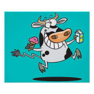 happy cute dairy cow cartoon ice cream milk poster