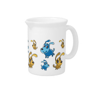 Happy Cute Dogs Smiling Pattern Drink Pitcher