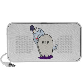 happy cute ghost and tombstone for halloween notebook speaker