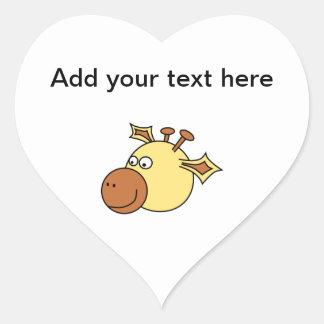 Happy Cute Giraffe. Cartoon Animal. Heart Sticker