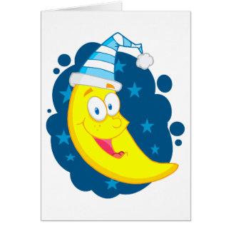 happy cute goodnight moon cartoon card