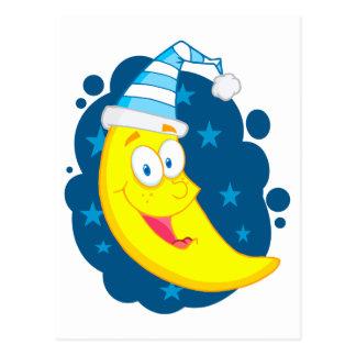 happy cute goodnight moon cartoon postcard