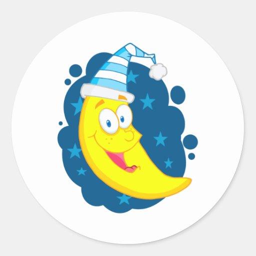 happy cute goodnight moon cartoon classic round sticker