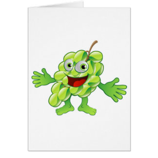 Happy cute grapes fruit character greeting card