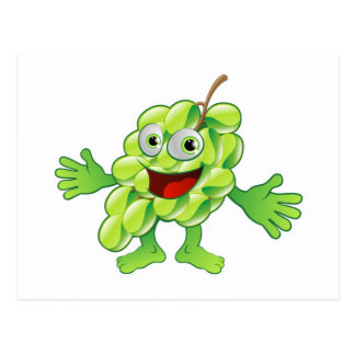 Happy cute grapes fruit character postcards