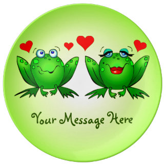 Happy Cute Green Cartoon Frogs Your Message Dinner Plate