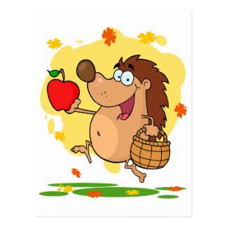 happy cute hedgehog apple picking postcard