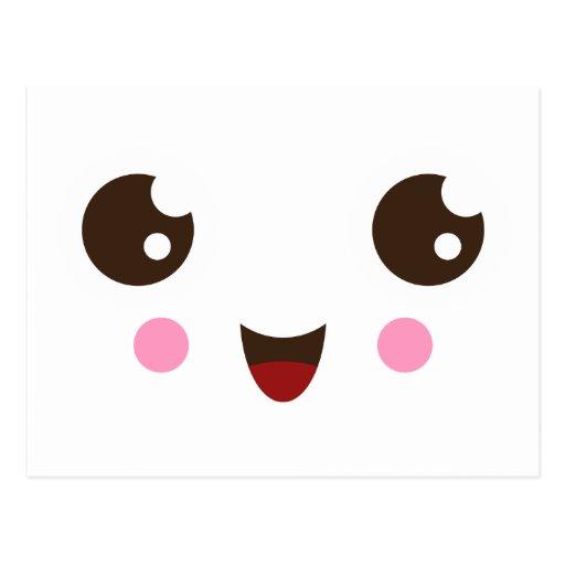 Happy Cute Kawaii Face Postcard Zazzle