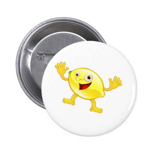 Happy cute lemon fruit character 2 inch round button