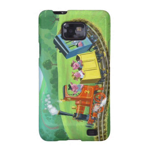 happy cute pigs on train journey in countryside galaxy SII cover