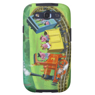 happy cute pigs on train journey in countryside galaxy s3 cases