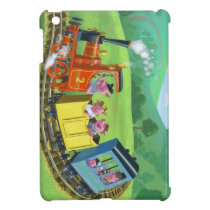 happy cute pigs on train journey in countryside iPad mini case