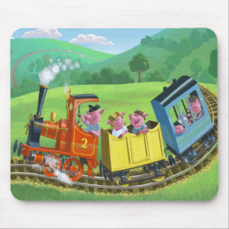happy cute pigs on train journey in countryside mouse pad