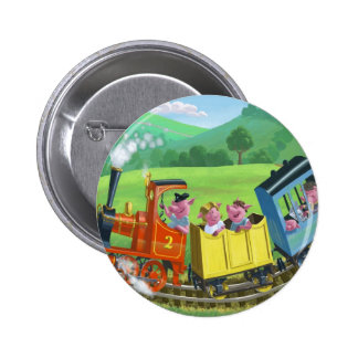 happy cute pigs on train journey in countryside pinback button