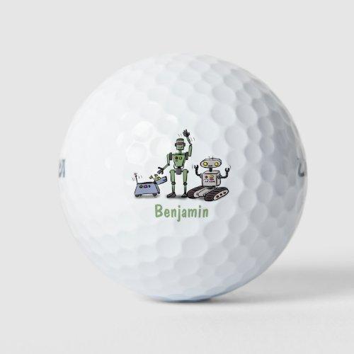 Happy cute robots trio cartoon golf balls