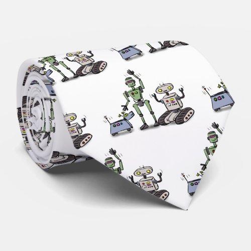 Happy cute robots trio cartoon neck tie