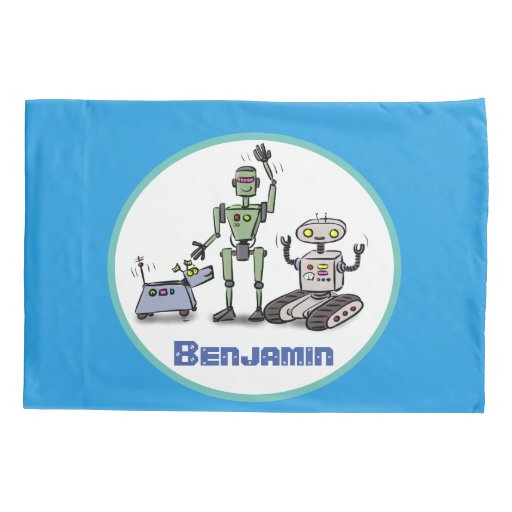 Happy cute robots trio cartoon on blue background pillow case