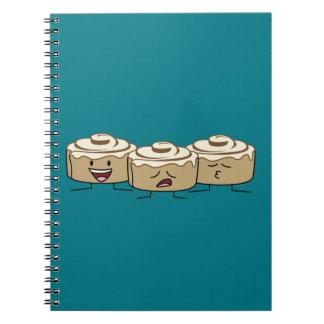Happy Cute Smiling Cinnamon Rolls Spiral Notebooks