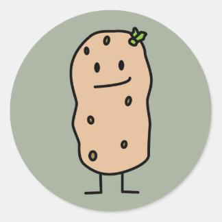 Happy Cute Smiling Potato Classic Round Sticker