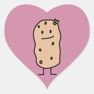 Happy Cute Smiling Potato Heart Sticker