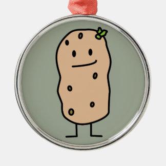Happy Cute Smiling Potato Metal Ornament