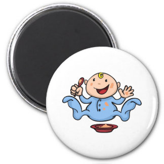 Happy cute weaning baby playing with food fridge magnet