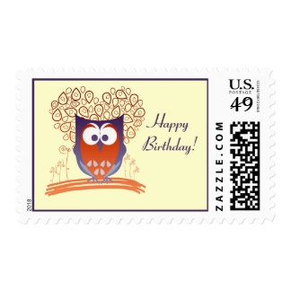 Happy Cute Whimsical Owl Custom postage stamps