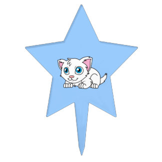 Happy Cute White Persian Cat with Blue Eyes Cake Toppers