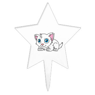 Happy Cute White Persian Cat with Blue Eyes Cake Topper
