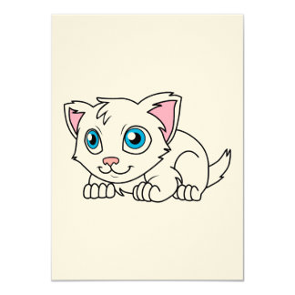 Happy Cute White Persian Cat with Blue Eyes Card