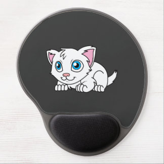 Happy Cute White Persian Cat with Blue Eyes Gel Mouse Pad