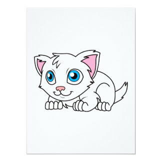 Happy Cute White Persian Cat with Blue Eyes 6.5x8.75 Paper Invitation Card