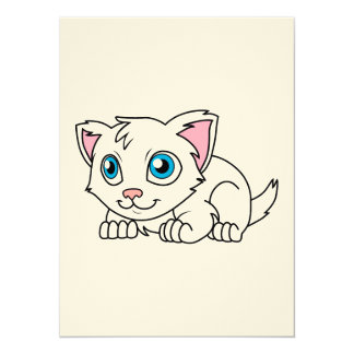Happy Cute White Persian Cat with Blue Eyes 5.5x7.5 Paper Invitation Card